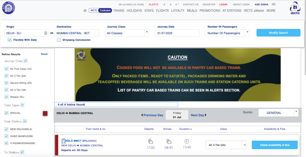 irctc latest news train ticket