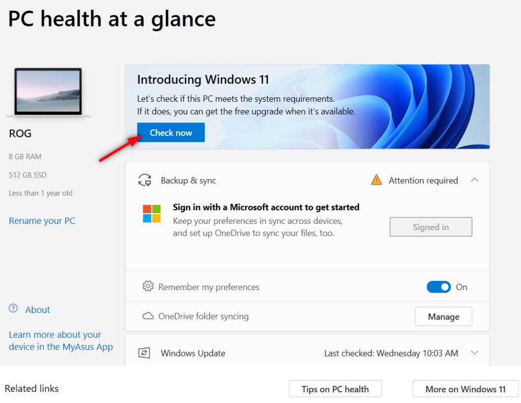 Microsoft PC Health Check App